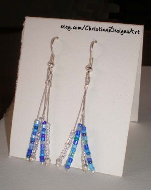 Blue & White Silver String Dangle Earrings on Etsy $15