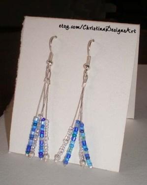 Blue & White Silver String Dangle Earrings on Etsy $15