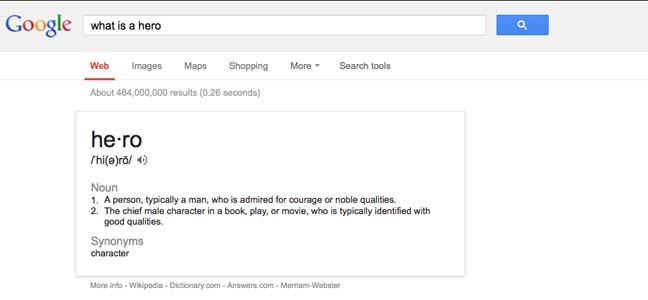 Google Defines Hero