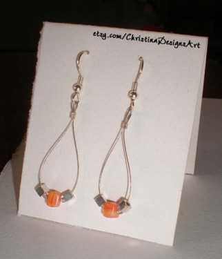 Neon Orange Square Beads & Silver Cube Beads on Teardrop Earrings on Etsy $8