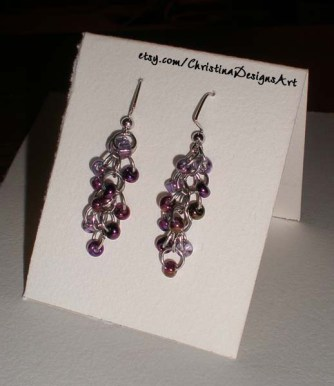 Shimmery Iridescent Purple Beaded Dangle Earrings on Etsy $15