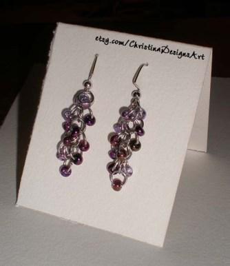Shimmery Iridescent Purple Beaded Dangle Earrings on Etsy $15