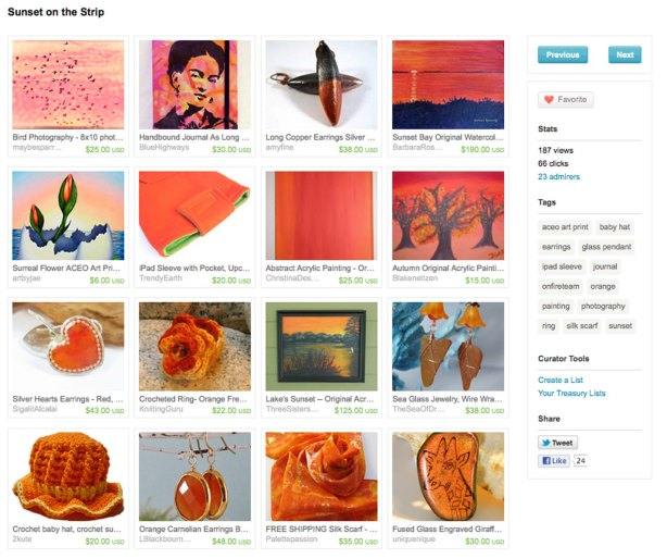 Sunset on the Strip Etsy Treasury