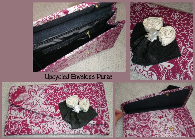 "Upcycled Envelope Purse.  Used to be vinyl, now the outside is a white and purple-pink floral pattern.  With off-white fabric rosettes, black felt squares, and a vintage pearl-white elephant on the flap.  Size: 6.5"" height x 11"" width.  Accordions to a few inches for the inside."