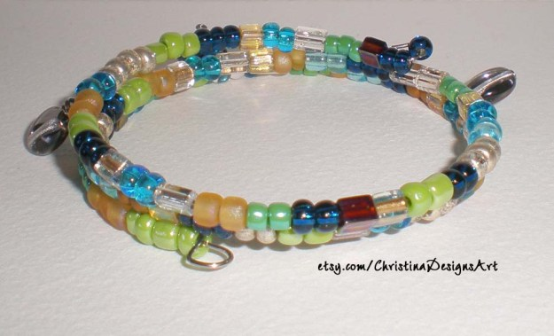 Green, Blue, Gold beads Bracelet $13 on Etsy