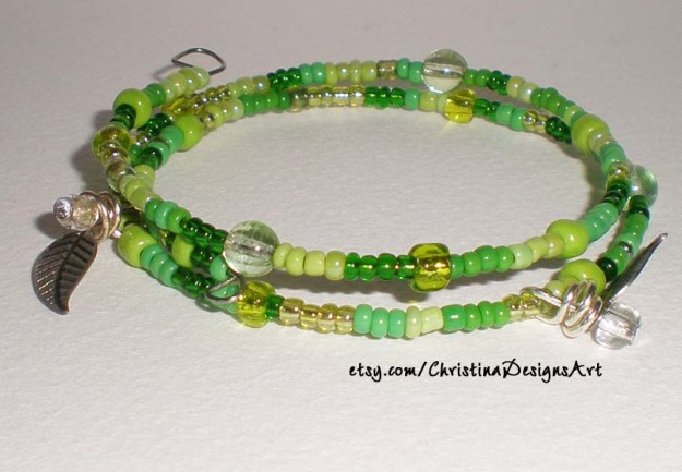 Multi Color Green Beaded Bracelet with Leaf Charms $8 on Etsy