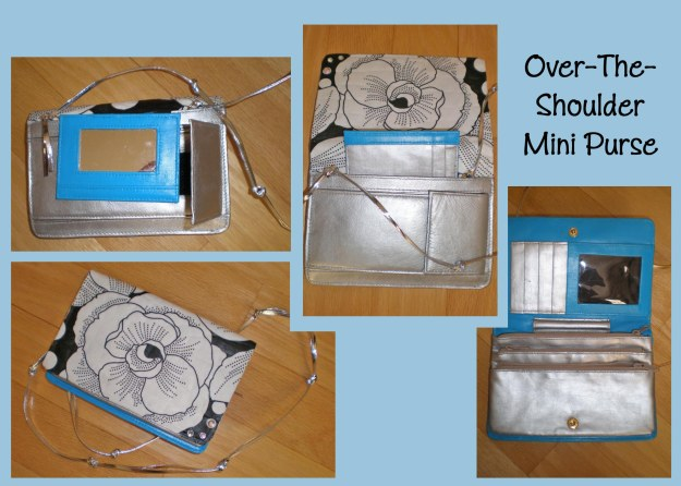 Over-the-Shoulder Mini Purse.  White with Black accents, floral fabric on the flap.  Pocket mirror, multiple credit card slots, 3 zipper pockets, accordion pocket on back. Painted blue and silver leather.  A silver leather strap for over-the-shoulder.  $15