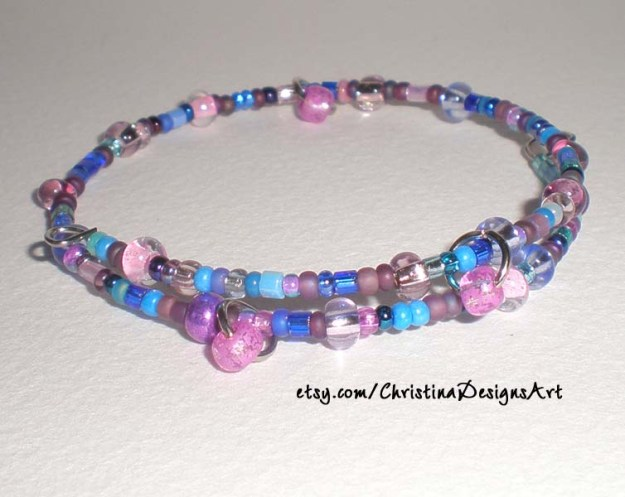 Multi Color Purple Shimmery Beaded Bracelet $8 on Etsy