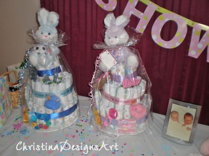 boy and girl diaper cakes