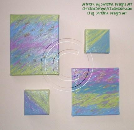 Christina Designs Art Beaded Mixed Media Original Artwork Set $40