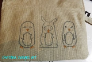 DIY Penguin Purse Design with Watercolor Pencils